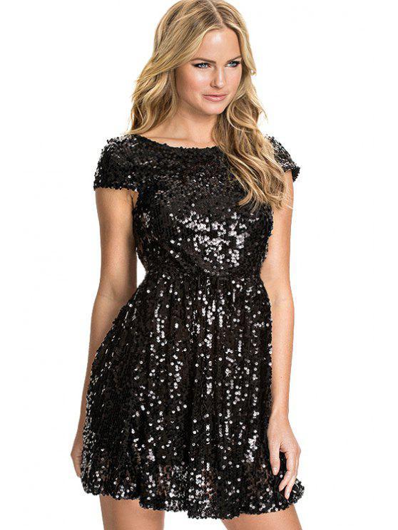 latest Short Sleeve Black Sequins Dress - BLACK XS