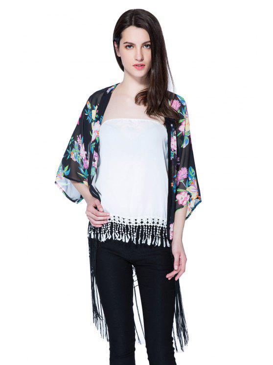 Blusa de franela con estampado floral 3/4 - Negro M