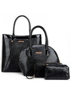 Stylish Crocodile Print And Zip Design Women's Tote Bag - Black