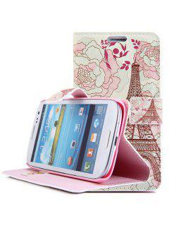 Cas De Corps Complet Avec Support De Carte De Crédit De Style De Fleur De Tour Pour Samsung Galaxy S4 I9500 - Blanc Et Pourpre