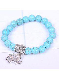 Retro Women's Turquoise Printed Elephant Bracelet - Lake Blue