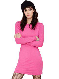 Solid Color Long Sleeve Slimming Dress - Peach Red M