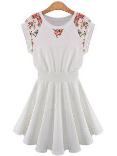 Lace Splicing A-Line Dress - Off-white S