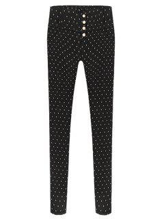 Print Single-Breasted Skinny Pants - Black M