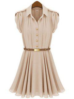 Solid Color Short Sleeves Dress - Nude M