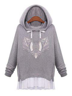 Embroidery Faux Twinset Design Hoodie - Light Gray L