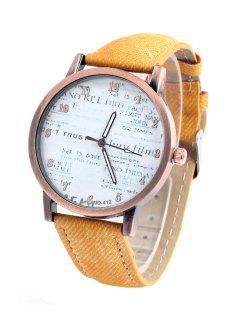 Letter Print Denim Strap Watch - Yellow