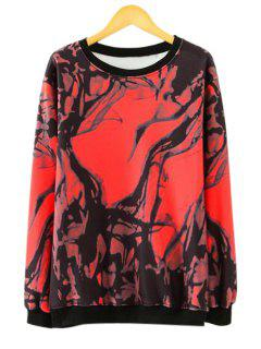 Long Sleeves Abstract Print Sweatshirt - Red S