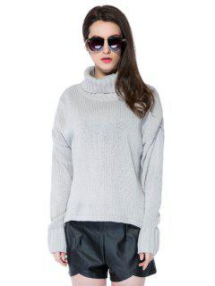 Turtle Neck Solid Color Sweater - Gray L