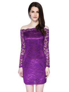 Slash Neck Solid Color Lace Dress - Purple S