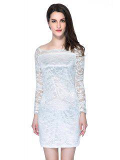 Slash Neck Solid Color Lace Dress - White Xl