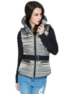 Faux Fur Stand Collar Belt Waistcoat - Gray L