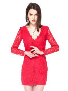 Plunging Neck Lace Bodycon Dress - Red 2xl