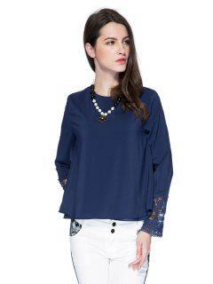 Encaje De Empalme Blusa De Color Sólido - Azul Purpúreo M