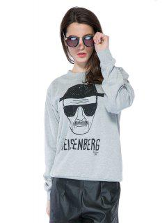 Portrait Print Long Sleeve Sweatshirt - Gray M