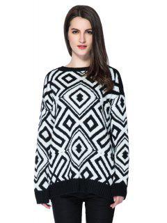 Argyle Pattern Long Sleeve Sweater - White And Black M