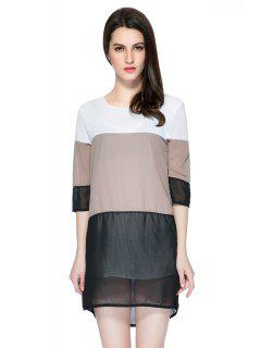 3/4 Sleeve Color Block Skirt - L