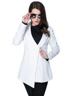 Solide Couleur Plongeant Manteau Neck Zipper - Blanc L