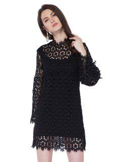 Crochet Flower Hollow Lace Dress - Black L