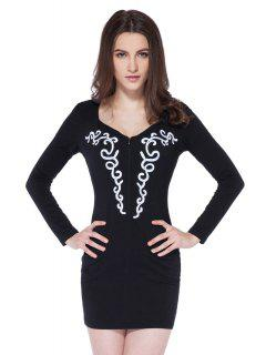 Embroidery Sweetheart Neck Dress - Black 2xl