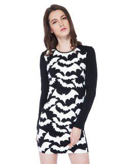 Abstract Print Long Sleeve Dress - Black 2xl