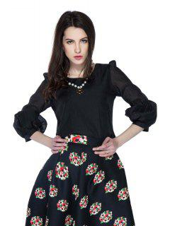 Solid Color 3/4 Puff Sleeve Blouse - Black L