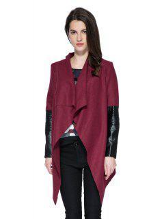 PU Leather Splicing Long Sleeve Belt Coat - Wine Red L