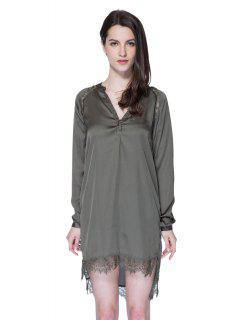 Solid Color Lace Splicing Dress - Army Green Xl