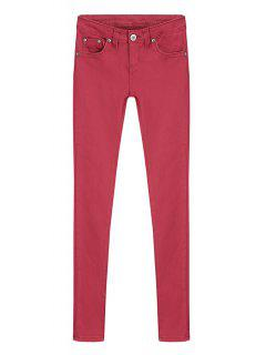 Skinny Solid Color Low Waisted Pants - Red M
