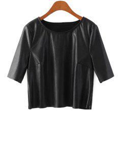 Half Sleeve Black PU Leather T-Shirt - Black S