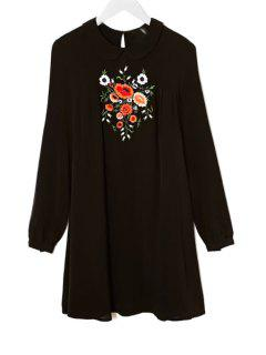 Peter Pan Collar Floral Embroidery Dress - Black S