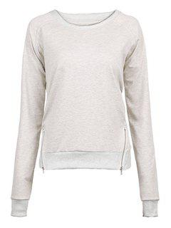 Gray Zipper Jewel Neck Sweatshirt - Gray M