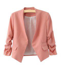 3/4 Sleeves Solid Color Blazer - Pink L