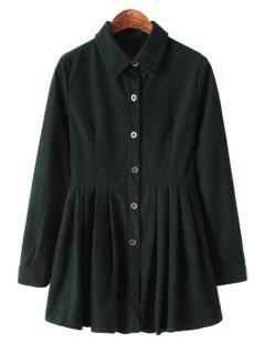 Long Sleeve Solid Color Corduroy Dress - Blackish Green M