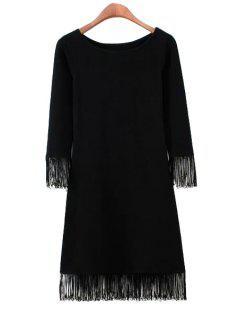 Solid Color 3/4 Sleeve Fringe Dress - Black S