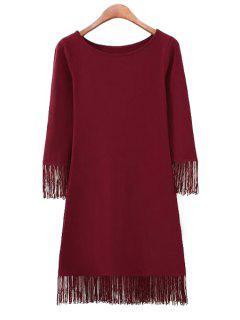 Solid Color 3/4 Sleeve Fringe Dress - Red L