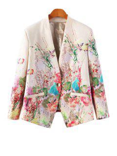 V-Neck Floral Print Blazer - Off-white L