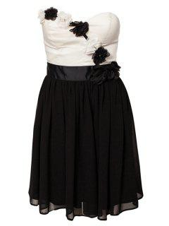 Strapless Color Block Dress - Black Xl