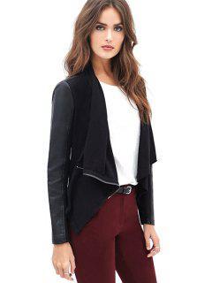 Black Faux Leather Splicing Jacket - Black L
