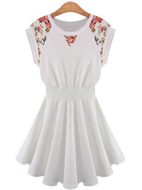 trendy Lace Splicing A-Line Dress - OFF-WHITE XL Mobile