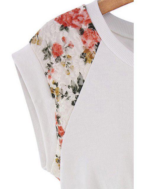 women's Lace Splicing A-Line Dress - CADETBLUE XL Mobile