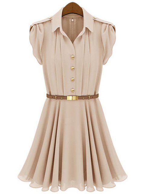 unique Solid Color Short Sleeves Dress - NUDE M Mobile