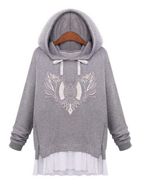women's Embroidery Faux Twinset Design Hoodie - LIGHT GRAY L Mobile