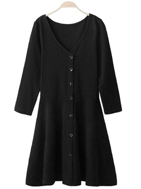 new 3/4 Sleeve Solid Color Dress - BLACK XL Mobile
