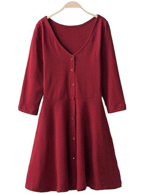 shop 3/4 Sleeve Solid Color Dress - RED M Mobile