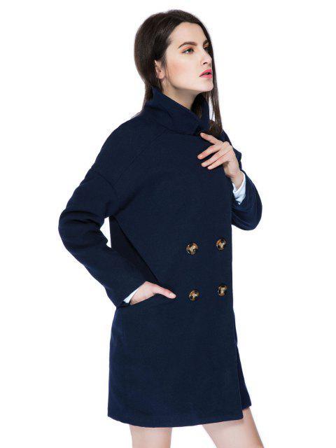 ladies Solid Color Lapel Loose-Fitting Coat - PURPLISH BLUE M Mobile