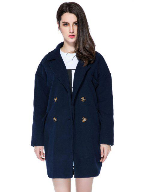 lady Solid Color Lapel Loose-Fitting Coat - PURPLISH BLUE L Mobile