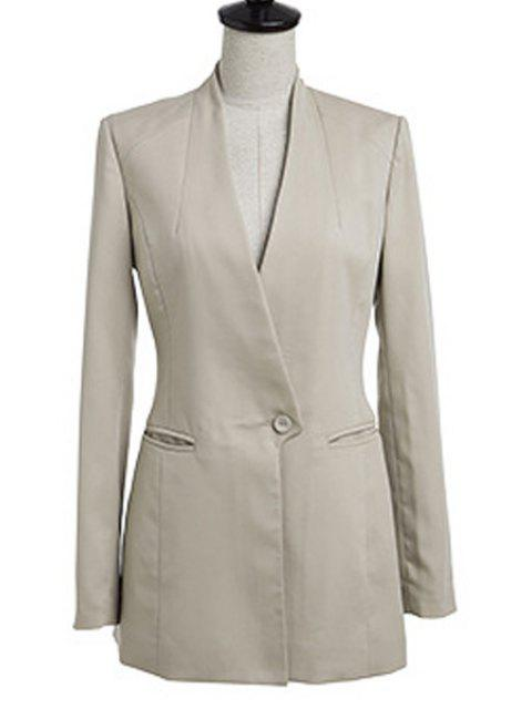 outfits V-Neck Solid Color Blazer - KHAKI 5XL Mobile