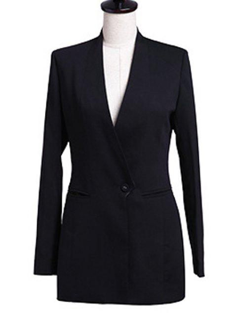 latest V-Neck Solid Color Blazer - BLACK L Mobile