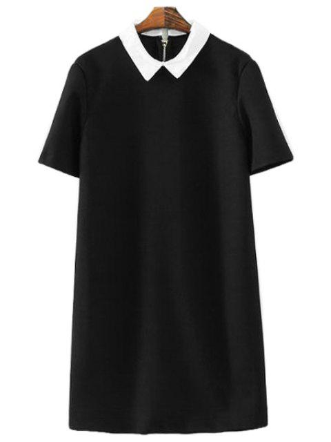 latest Short Sleeves Color Block Dress - BLACK L Mobile